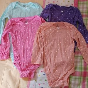 Lot of 4 Girls Long Sleeve onesies size 12 months